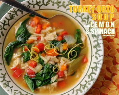Turkey Orzo Soup with Lemon & Spinach, a hearty mix of cooked turkey ...