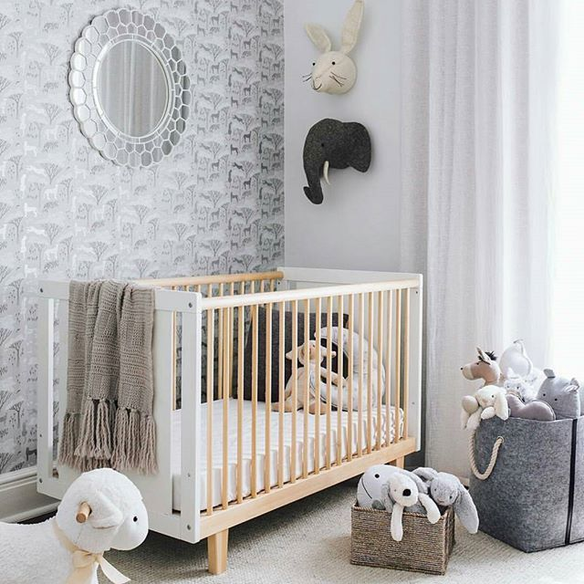 N E U T R A L ☆ How stunning does the Oeuf Rhea Cot look in this room styled by @oh.eight.oh.nine ? {Cot, Armadillo rug & Fiona Walker animal heads available on Tinitrader}