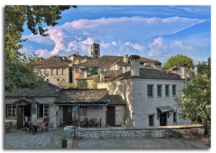 Dilοfo panorama from central square, Zagorochoria, Epirus, Greece - photo by Dimitris Tilis