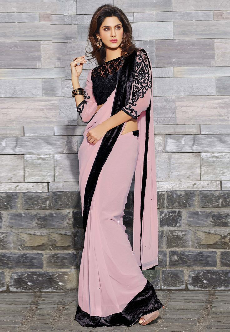 Light Dusty #Pink Faux #GeorgetteSaree with Blouse Online Shopping: SKK16662