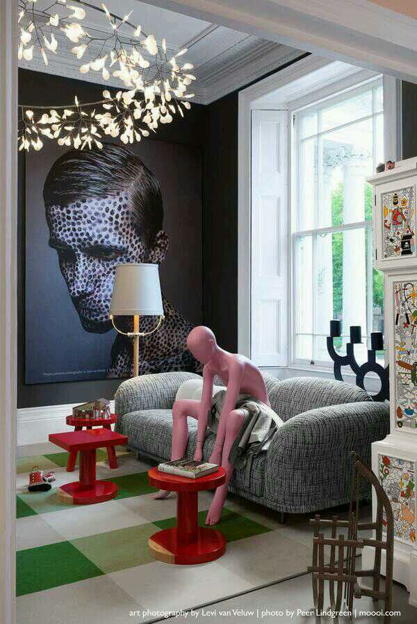 We don't like the manequin, but the rest is cool. Moooi (Marcel Wanders). A common thread that runs through the Moooi novelties is undoubtedly playfulness and colour. The designs boldly play with and challenge traditional interior designing. Bold lighting requires people willing to take a risk. Are you a daredevil? https://www.dmlights.com/blog/visit-moooi-unexpected-welcome-showroom-london/