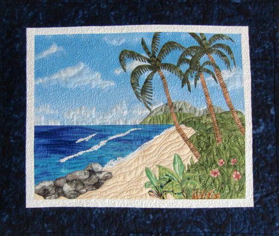 Art Quilt Tropical Beach Landscape Quilt by KoloaQuiltsandMore