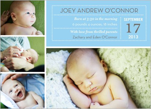 Calendar Date Boy Birth Announcement