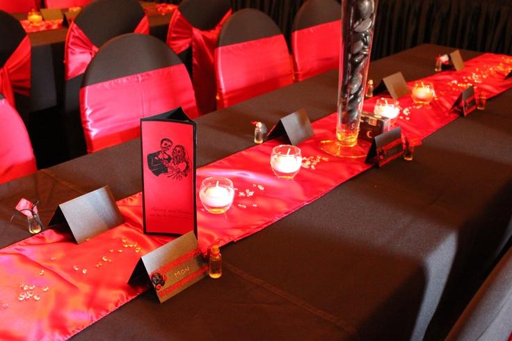 #wedding #weddingreception #vase #satinrunner #red #candles #floatingcandles #crystalscatters