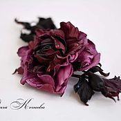 Украшения ручной работы. Ярмарка Мастеров - ручная работа Роза из кожи Марсала и пурпурный Брошь цветок. Handmade.