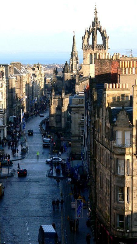 Royal Mile, Edinburgh, Scotland goes from the castle down the hill to Holyrood Palace. There is lots of fun shopping and so much to see. One of my favorite parts of Edinburgh. Well I do love the whole city.