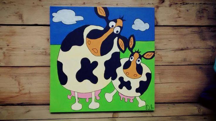 TE KOOP! 50 euro.  50x50 cm  Vrolijke koeien handgeschilderd schilderij. Ook te bestellen naar eigen ontwerp en kleurcombinaties.  www.dbhomelycartoons.com