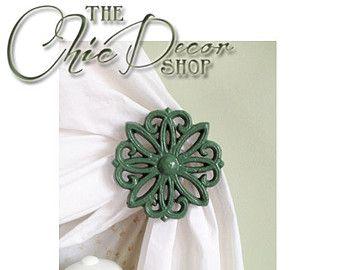 Curtain Tie backs, Green, Curtain Holdbacks, Tie backs, Set of 2, Green, Cast Iron, Curtain Hold Back