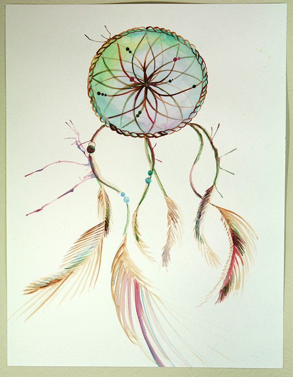 "Watercolor Painting  ""Dream Catcher"" Native American Metaphysical Reiki Crystal Handmade Original Spirit Desert Moon Infinity Feathers on Etsy, $175.00"
