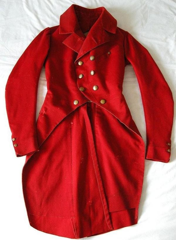 """Red wool riding coat c. 1810.""  I picture Mary's quote somewhere along these lines, but with a wider collar and the train reaching the floor."