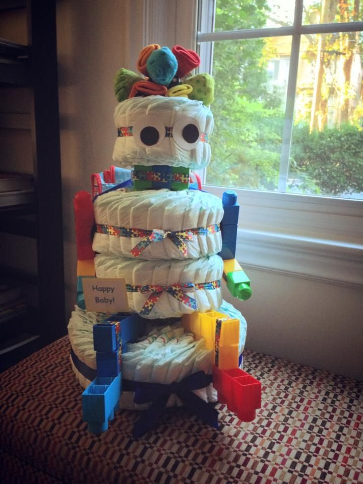 Robot-themed diaper cake from our BabyQ (vs baby shower), hand-made by a clever friend.