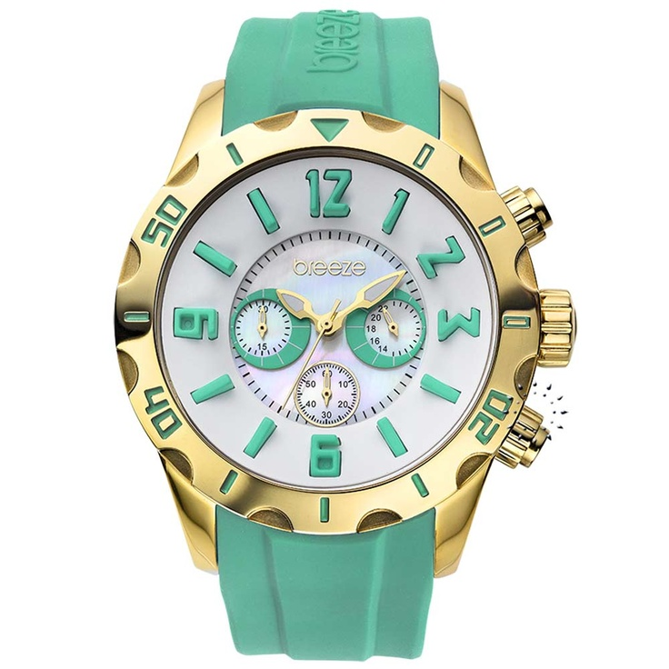 BREEZE California Dream Chrono Green Rubber Strap Μοντέλο: 110051.4 Τιμή: 170€ http://www.oroloi.gr/product_info.php?products_id=30506