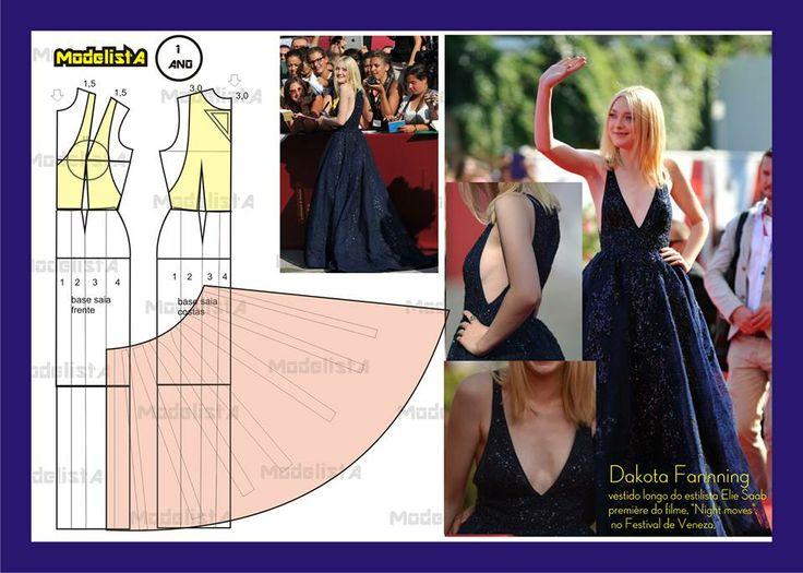 Modelagem do vestido da Dakota Fanning. Fonte: https://www.facebook.com/photo.php?fbid=563910176978225=a.426468314055746.87238.422942631074981=1