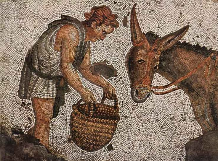 Detail of a floor mosaic depicting a boy feeding a donkey corn from a basket, 5th-6th century, Grand Palace, historic areas of Istanbul (UNESCO World Heritage Site, 1985). Turkey.