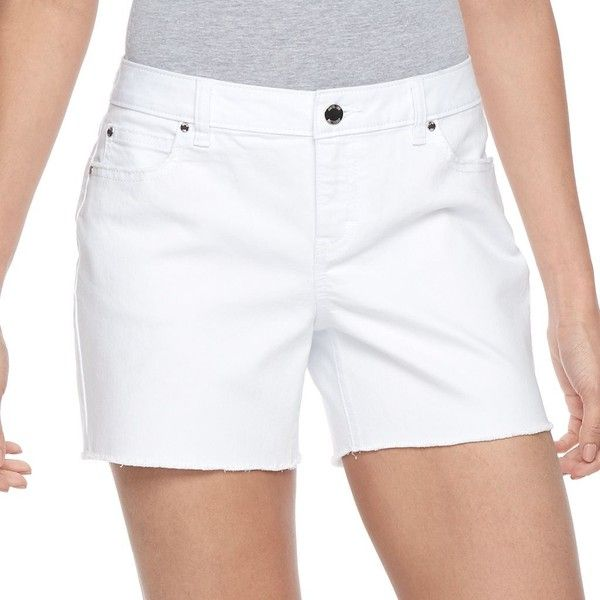 Women's Jennifer Lopez Fray Jean Shorts (40 CAD) ❤ liked on Polyvore featuring shorts, white, stretchy denim shorts, jennifer lopez, denim short shorts, jean shorts and stretch shorts
