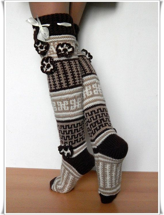 Wool Knee high Knee socks for the home Handmade by Elishadesign