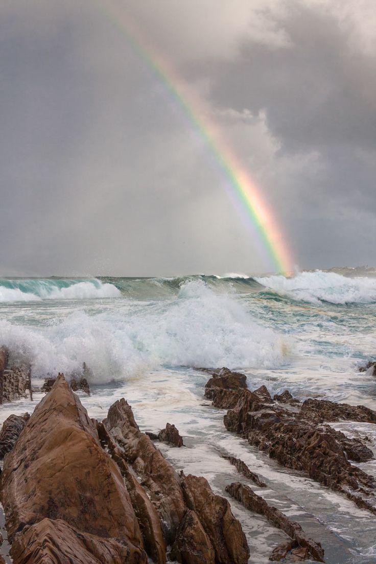 Rainbow over Yabbarra Beach, Kianga, NSW Australia.