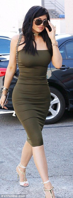 Green with envy: Kylie Jenner was seen near Los Angeles on Monday dressed in a strapless S...