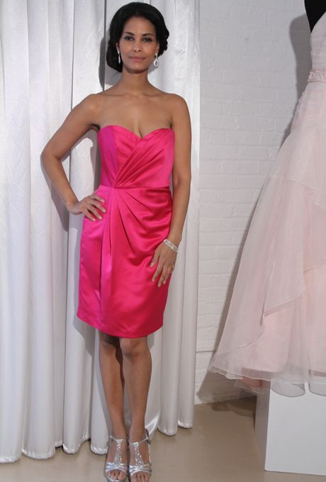 Brides: David's Bridal Bridesmaid Dresses - Fall 2012. Style F15103, strapless knee-length satin sheath bridesmaid dress with a sweetheart neckline and pleated bodice, David's Bridal