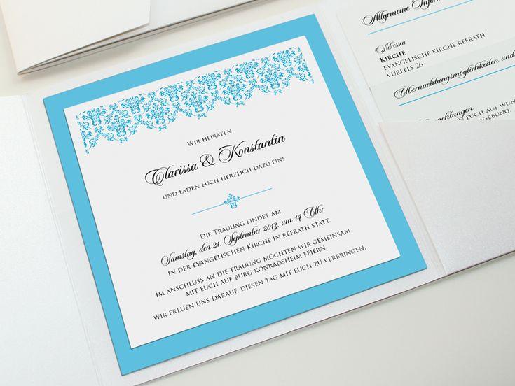 Einladung zur Hochzeit, Pocket Fold 5x5, klassisch-elegant. Thema: Schlosshochzeit, Barock, Türkis, Ornament. Farben: weiß, Türkis, Anthrazit, matt und glänzend. Bedrucktes Papiersiegel mit den Initialen/Buchstaben des Brautpaares. ©passion4paper