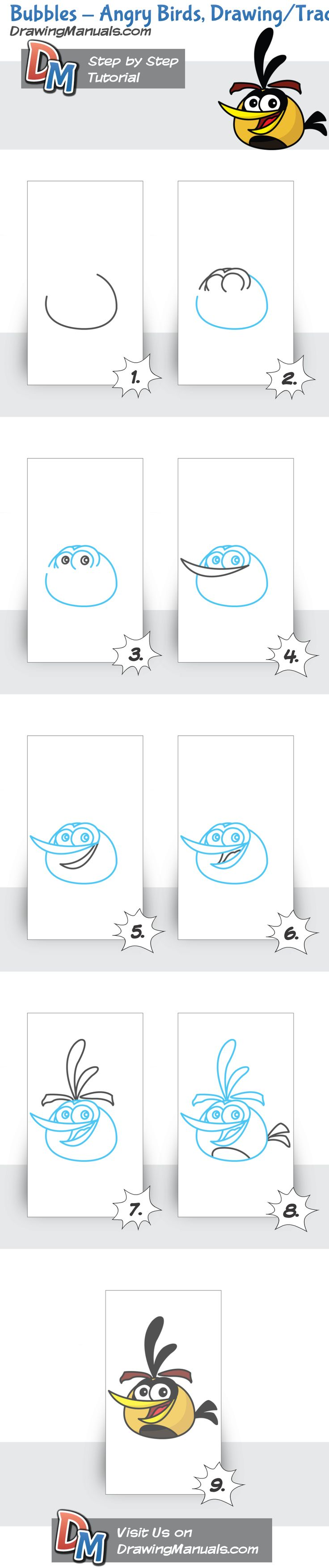How to Draw Angry Birds, Bubbles drawing tutorial