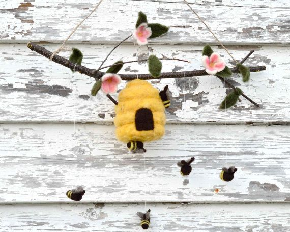 Baby Mobile Honey BEES and Hive in Felted Wool by SewnNatural