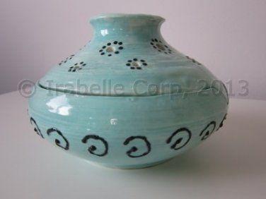 Ceramic Vase/Bowl/Candle Holder (2 piece set) (Turquoise/Black) (Code 9021.10)