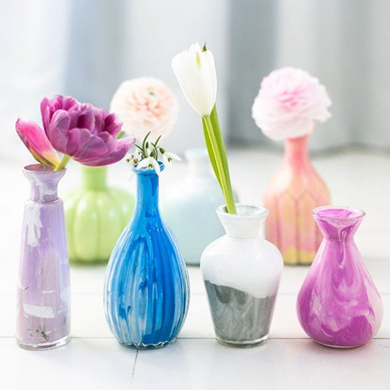 How to marble the inside of glass vases with acrylic paint for Can i paint glass with acrylic paint