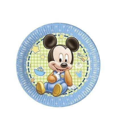Leuke baby bordjes van Mickey Mouse om de geboorte van een zoon te vieren | Feestwinkel Altijd Feest
