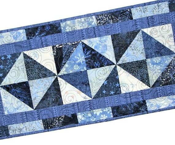 Quilted Christmas Table Runner Blue White Holiday Table Mat Etsy Christmas Table Runner Quilted Table Runners Quilted Table Runners Patterns