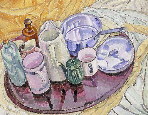 Coisas sobre uma bandeja de ferro no chão. Cerca de 1928. Óleo sobre madeira compensada. Grace Cossington Smith (Sydney, Nova Gales do Sul, Austrália, 20/04/1892 - 20/12/1984, Sydney, Nova Gales do Sul, Austrália). Encontra-se na Galeria de Arte de Nova Gales do Sul em Sydney, Nova Gales do Sul, Austrália.