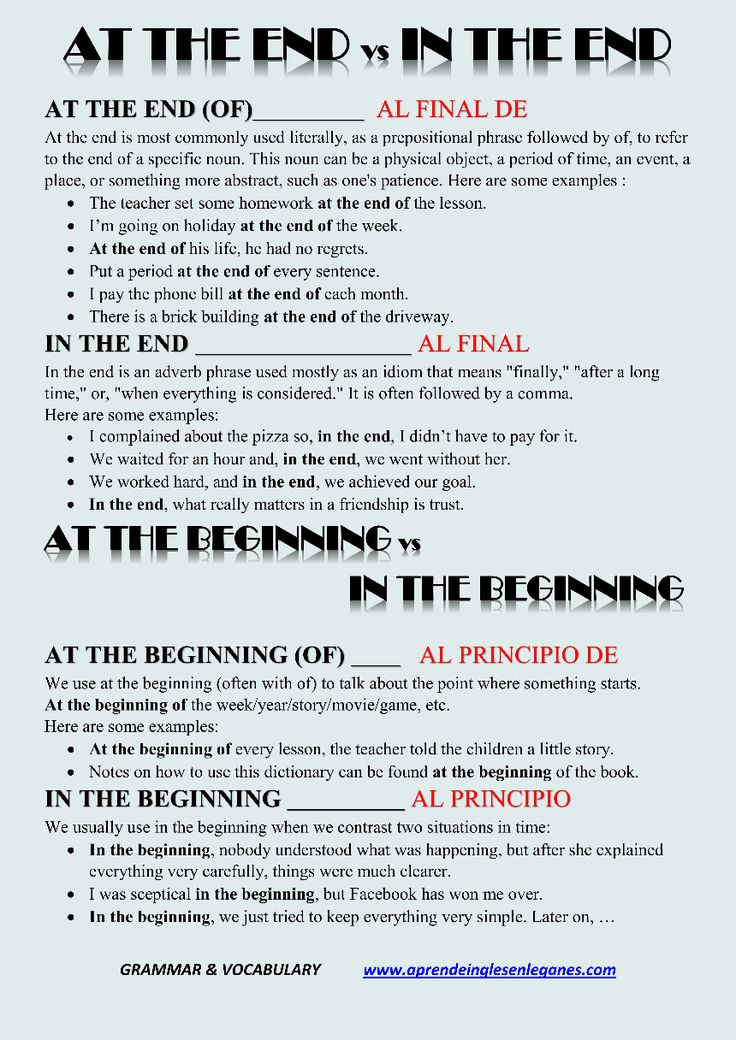 At the end vs In the end At the beginning vs In the beginning Advanced English Grammar Cambridge English FCE CAE CPE