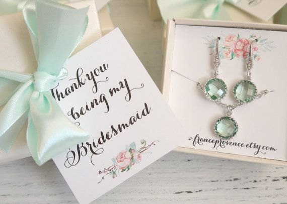 Bridesmaid jewelry set of 8 mint silver earrings and necklaces with Will you be my Bridesmaid Cards - Silver Earrings and Necklaces by FranceProvence #TrendingEtsy