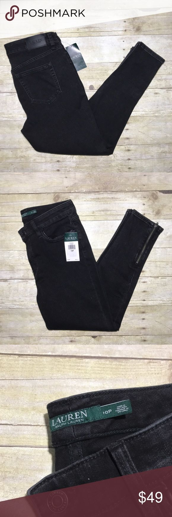 Brand new with Tag Ralph Lauren Petite Skinny Jean Brand New Petite, Dark Indigo Skinny Jeans. Size 10P, Inseam: 24. Have zip up cuffs. Very nice! Lauren Ralph Lauren Jeans Skinny