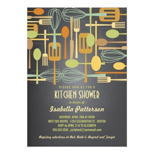 Chalkboard Retro Stock The Kitchen Bridal Shower 5x7 Paper Invitation Card