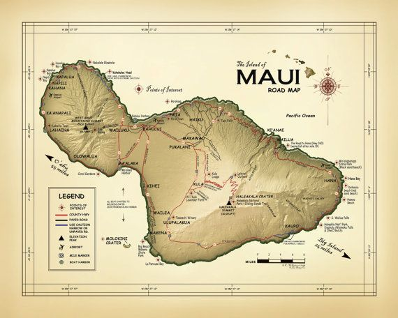 19 best Hawaii Map Prints images on Pinterest  Bristol Vintage