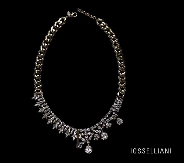 asymmetrical handbrushed brass #necklace with crystal zircons.  #iosselliani