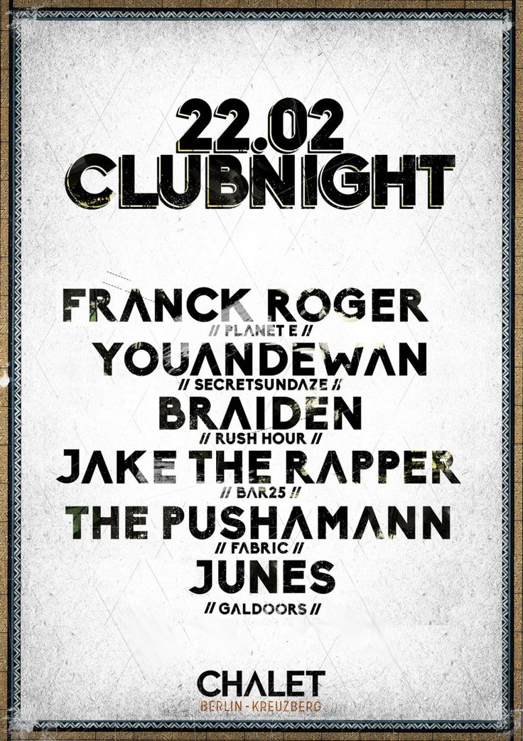 RA: Clubnight with Franck Roger, Youandewan & Braiden at Chalet, Berlin