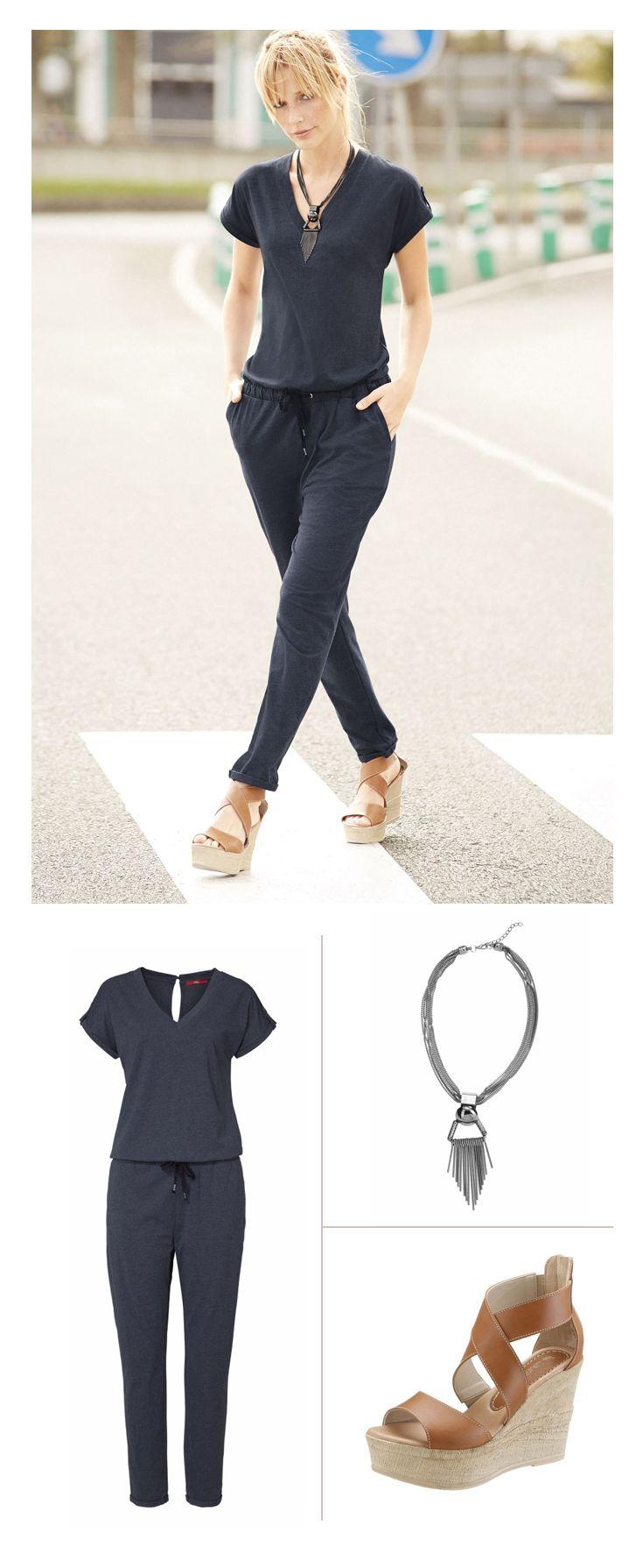 Der lässig-elegante Overall von s.Oliver bringt Freizeit- und Catwalk-Feeling zusammen. Die elegante Kette von J. Jayz und die feminine Sandalette von Laura Scott schaffen ein zusätzliches Style-Upgrade – der perfekte Look für Shoppingbummel oder das Strandcafé.