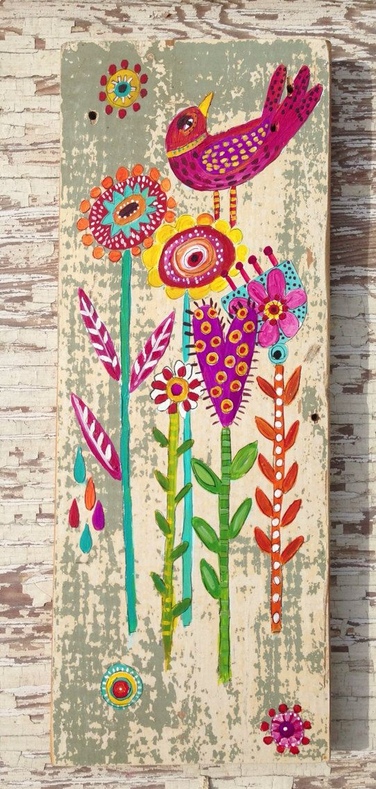 Original Bird Painting on Rustic Wood on Etsy, $58.00