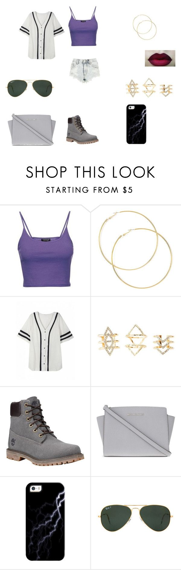 """Cookout outfit"" by junebug02 ❤ liked on Polyvore featuring Topshop, Charlotte Russe, Timberland, MICHAEL Michael Kors, Casetify and Ray-Ban"