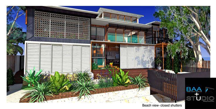 Closed shutters, beach house