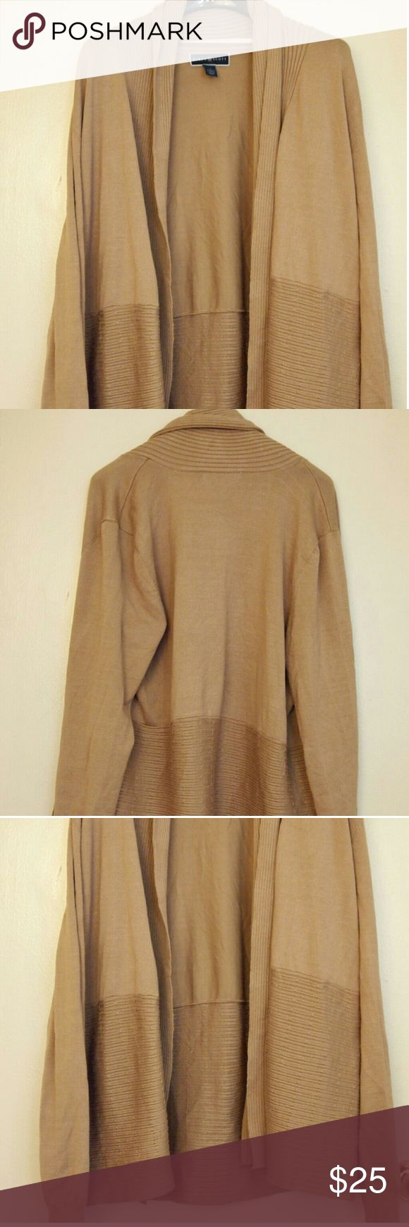 Women's cover jacket coat size Large L long sleeve New, tan color, soft fabric. Handling time is 4 to 6 days. Karen Scott Jackets & Coats