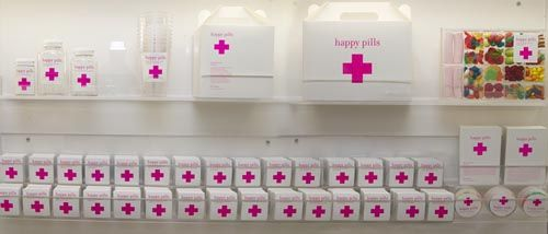 Candy Store in Barcelona called 'Happy Pills'. Everything is first aid themed.