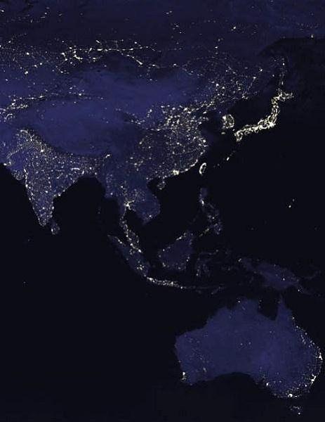 Image: NASA Asia and Australia at night This image was ...