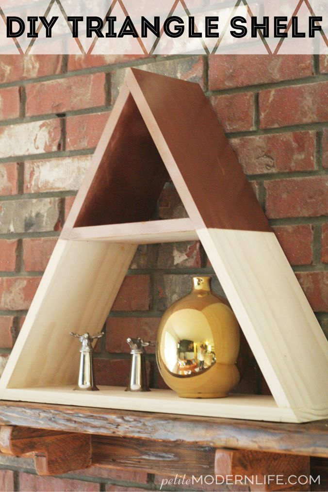 DIY Triangle Shelf - love the combo of natural and painted wood.