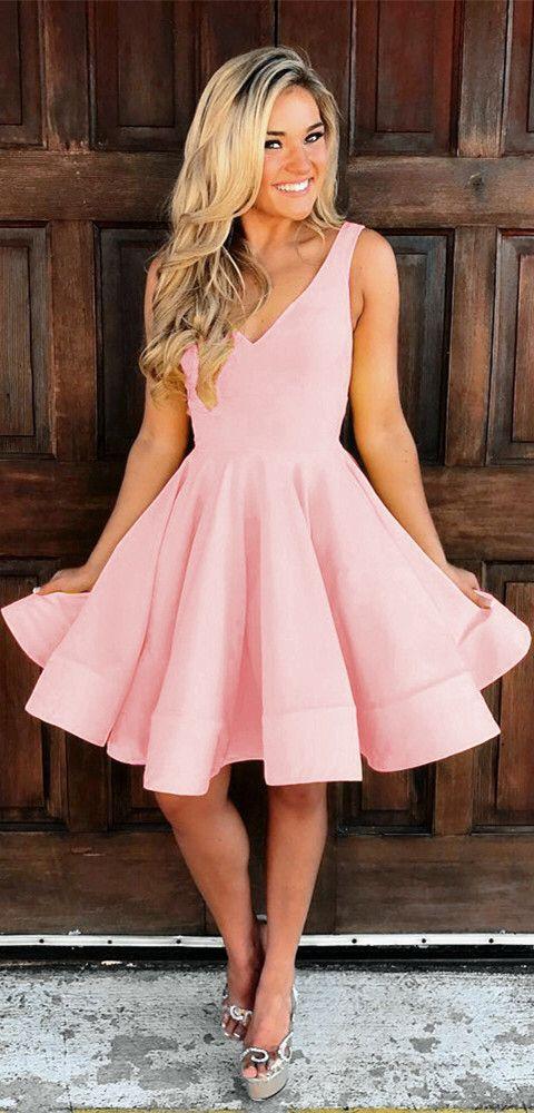 408dacdad1c Cute V Neck Ruffles Homecoming Dresses Short Mini Prom Dresses Ball ...