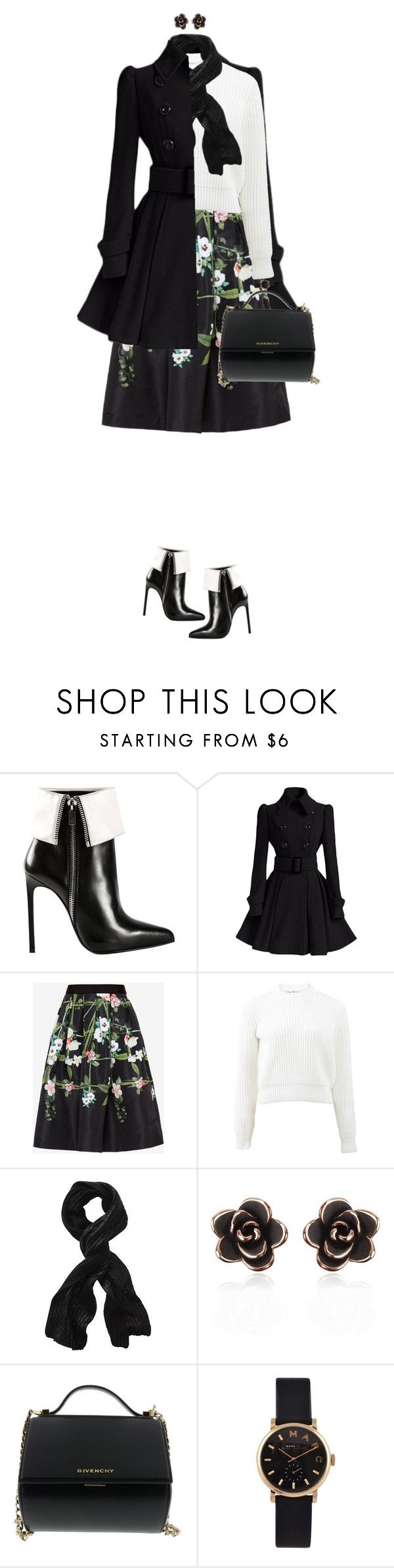 """Black And White Ankle Boots"" by ittie-kittie on Polyvore featuring Yves Saint Laurent, Ted Baker, T By Alexander Wang, Vincent Pradier, Givenchy, Marc by Marc Jacobs, women's clothing, women, female and woman"