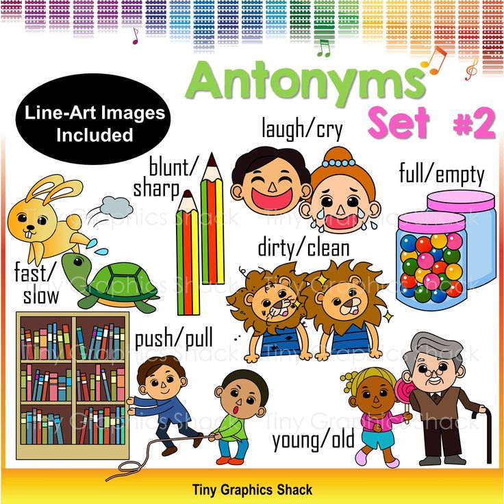 This is the second set of antonyms clip art. You can create educational resources with these crisp high quality images.   blunt sharp cry laugh dirty clean full empty push pull slow fast young old