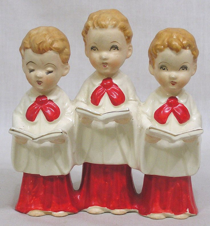 Vintage Christmas Holiday Three Choir Boys Figurine H. I. Company Japan 1950s #HICompany